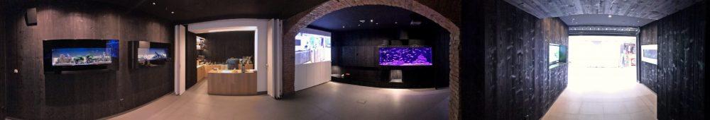 Akvárium v prostoru provozovny